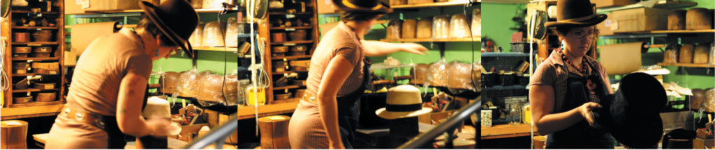 Abbie at work at Paul's Hats (photography credit: Richard Williamson)
