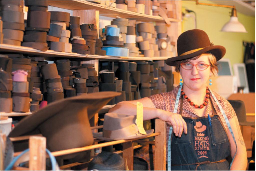 Abbie at Paul's Hats (photography credit: Richard Williamson)