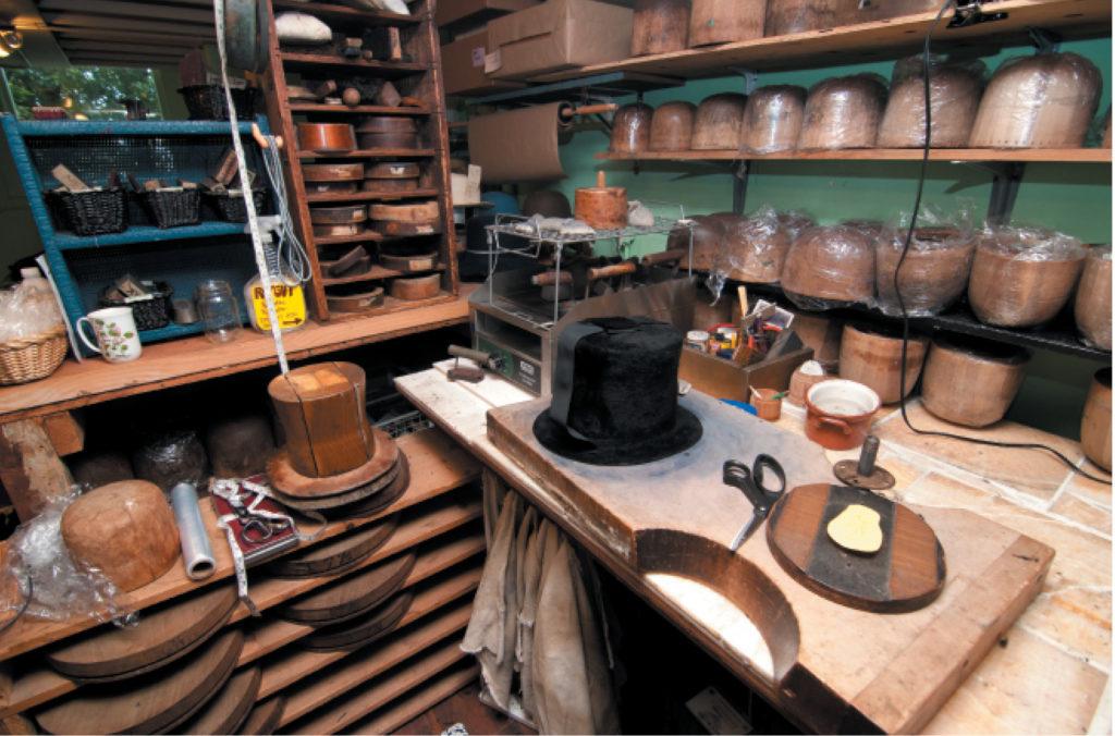 Paul's Hats workstation (photography credit: Richard Williamson)