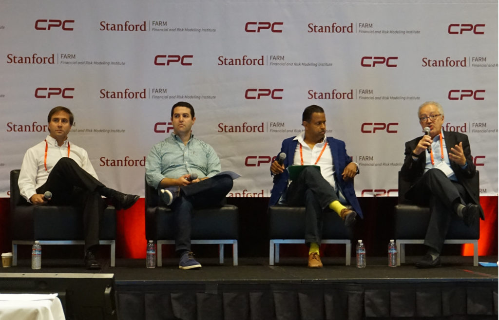 From left to right: Robert Neivert (Venture parter of 500 Startups, Goldstein (Microsoft Ventures), Akash Agarwal (GVP of SAP), Eric Benhamou (GP of Benhamou Global Ventures)